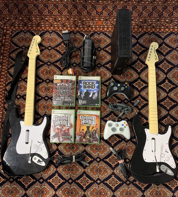Xbox 360 complete guitar hero rock band set w drum & guitars
