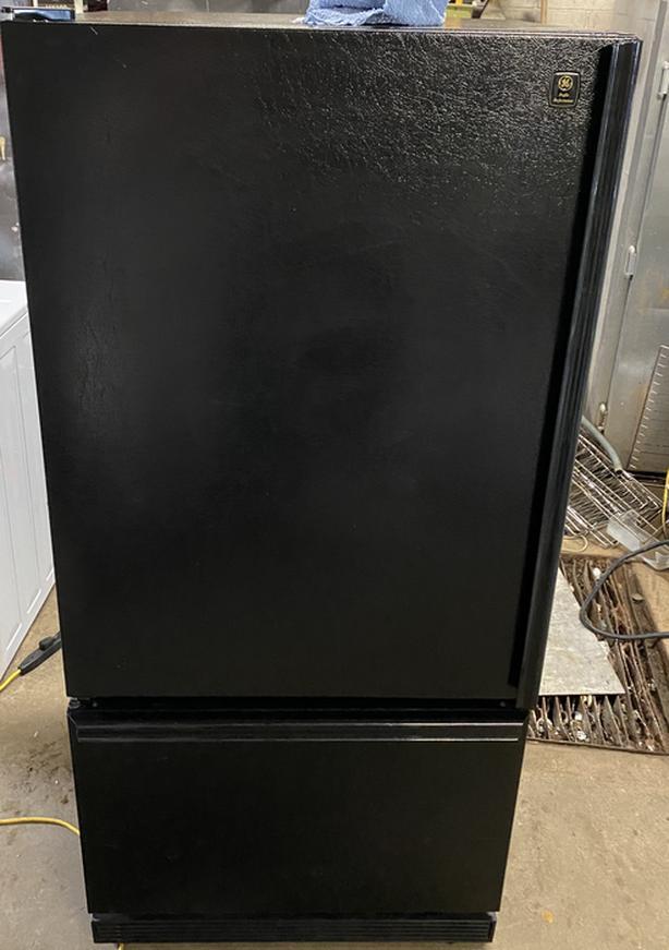 Black GE Bottom Freezer Fridge