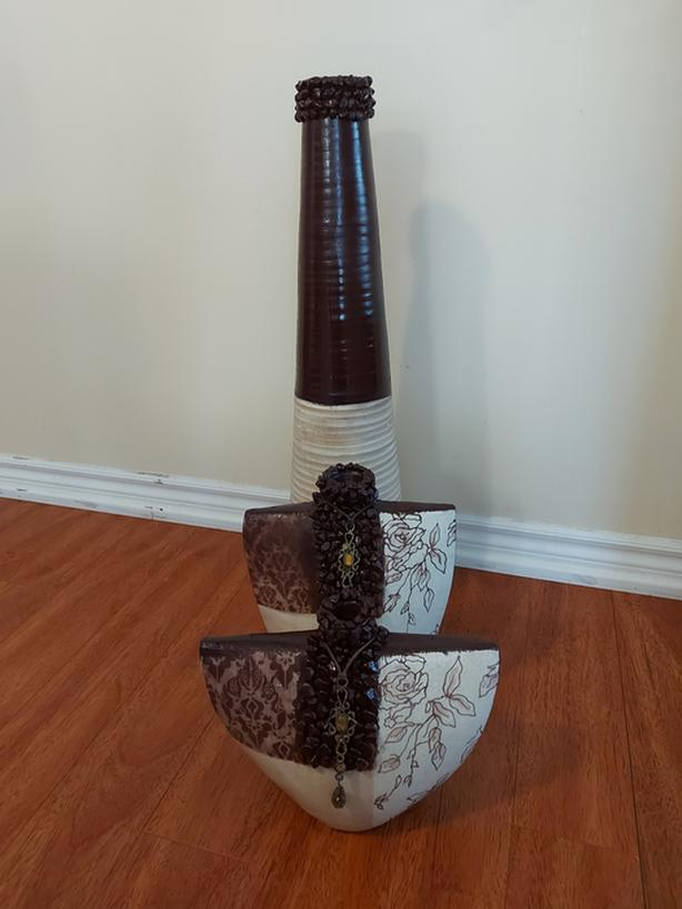 Tall vase and two vases decoration