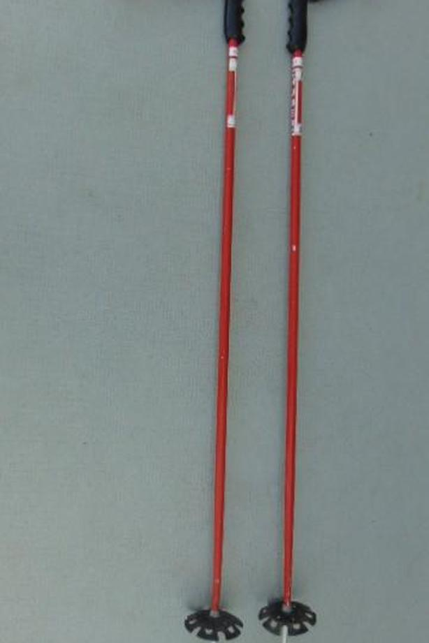 Ski Poles Adult Size 43 inch Hubber Racing Vintage Leather Straps Red