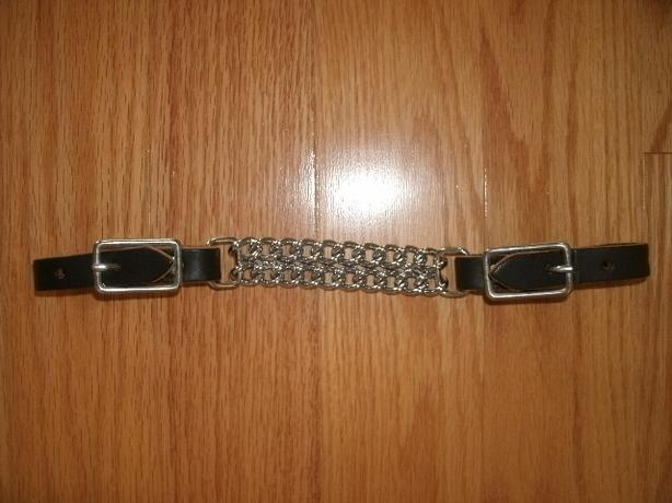 NEW Black Leather Double Chain Curb Strap