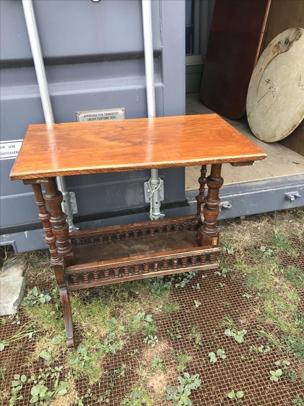 3 legged rough sawn wooded serving table ( looks like Oak)