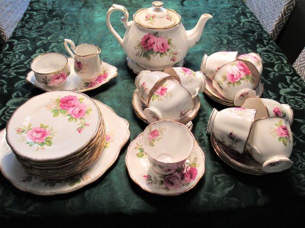 American Beauty Rose China Tea Set for 10