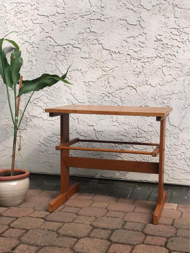 Solid Teak Side Table with Magazine Rack