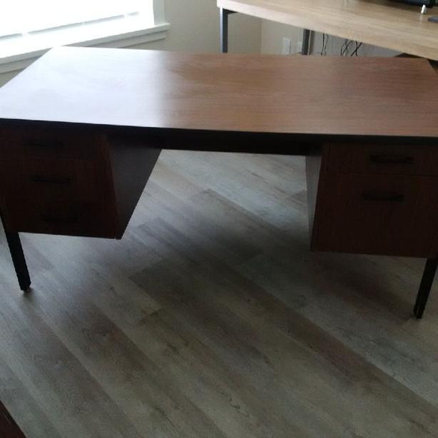 Solid brown + black desk