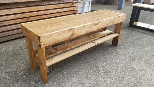 wooden bench with shoe shelf