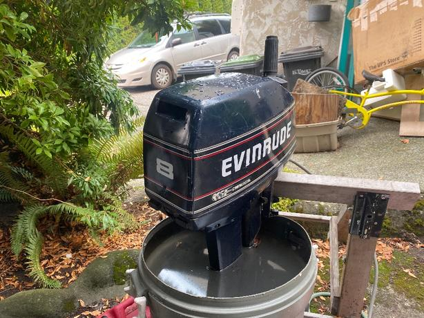 8 hp evinrude two stroke outboard.