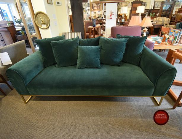 """AMAZING NEW GREEN VELVET """"KITS"""" SOFA BY ARTICLE FURNITURE AT CHARMAINE'S"""