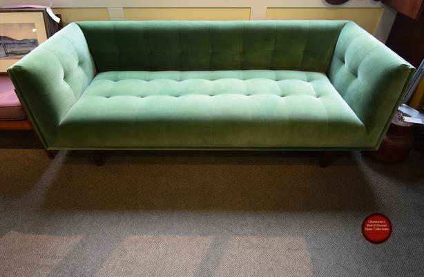 """FABULOUS NEW GREEN VELVET """"CIRRUS"""" SOFA BY ARTICLE AT CHARMAINE'S"""