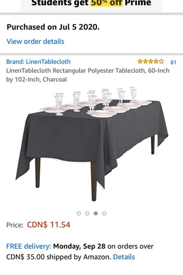 7 Medium-Dark grey table cloths 5x8.5 ft