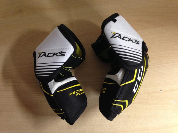 Hockey Elbow Pads Child Size Junior Large CCM Tacks Vector Plus Black Yellow