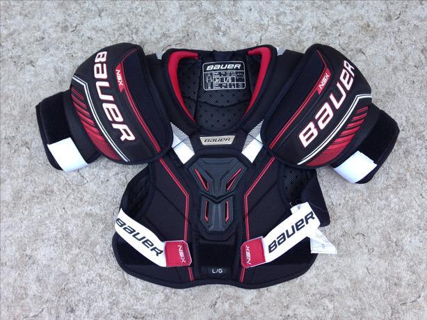 Hockey Shoulder Chest Pad Child Size Junior Large Bauer Black Red New Demo