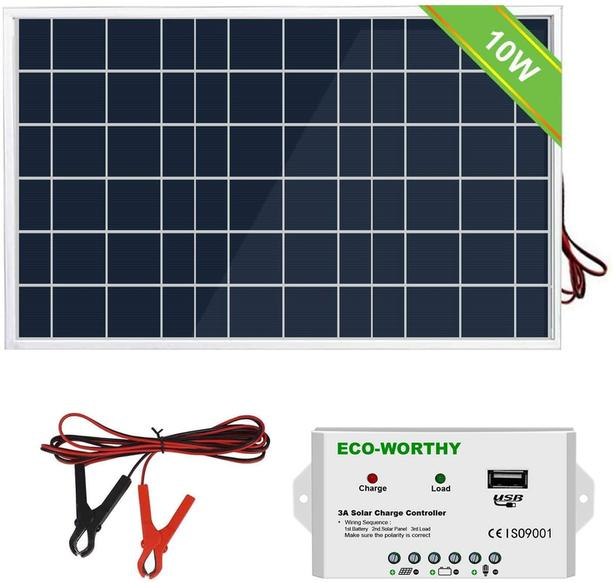 Solar Panel With Charge Controller - 10 Watt