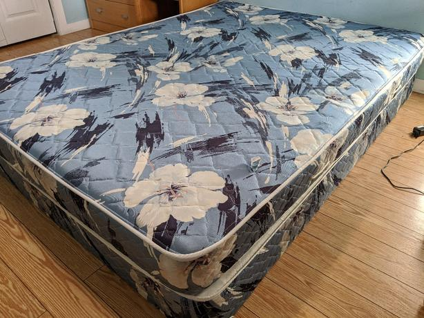 Good condition, queen size bed. Box plus mattress on sale for 50$.