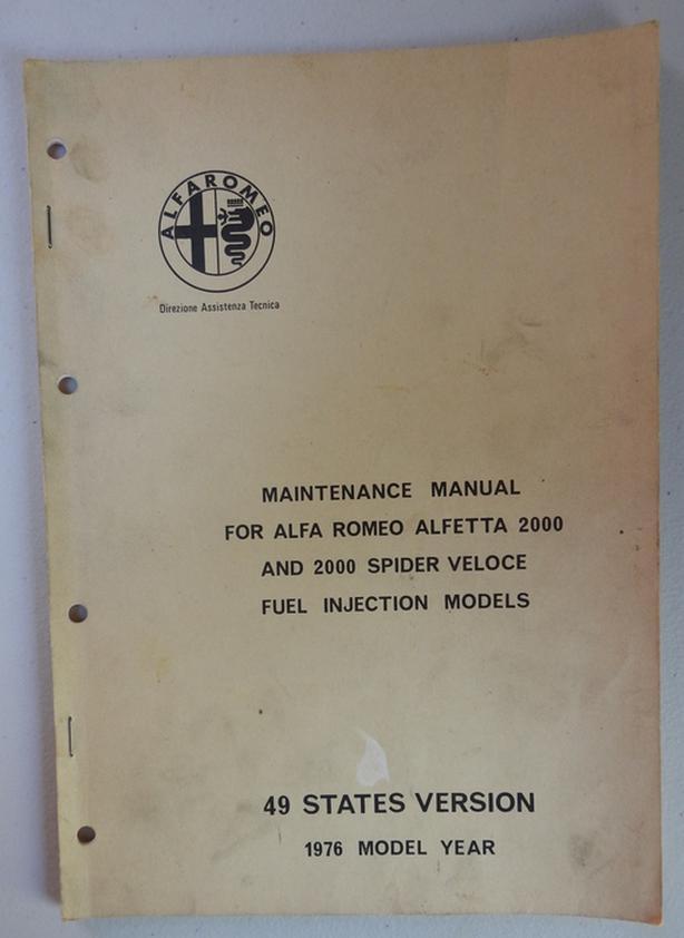 Alfa Romeo Alfetta 2000 Maintenance Manual