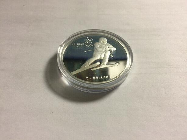 Calgary 1988 Olympic Winter Games Silver$20 Coin Downhill Skiing