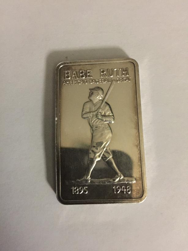 1974 Babe Ruth MEM-25 or MEM-25V Silver Art Bar only 1578 minted