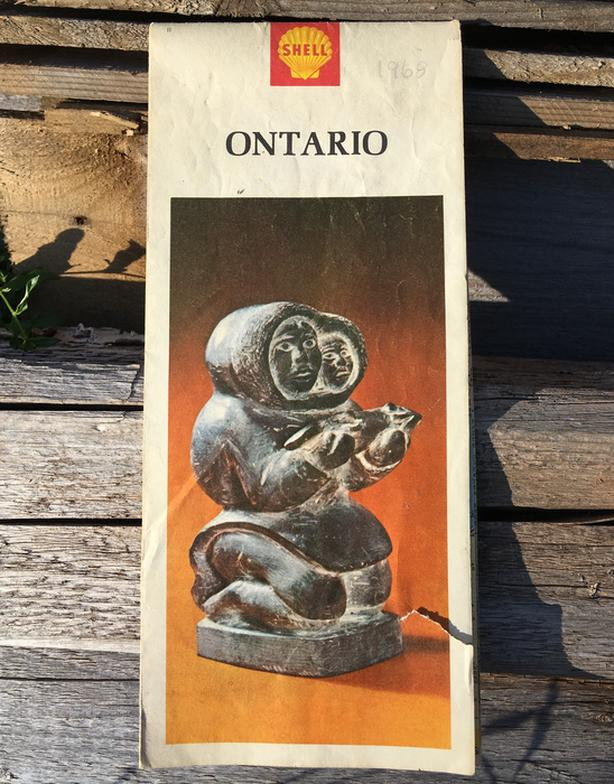 VINTAGE 1960's SHELL ROAD MAP OF ONTARIO