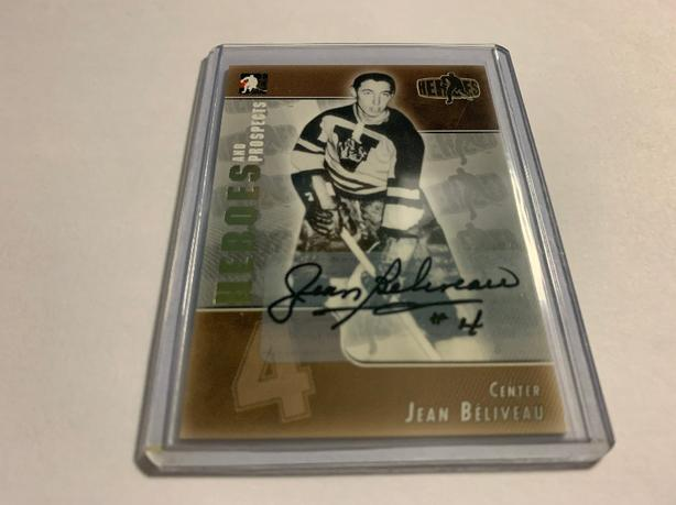 JEAN BELIVEAU SIGNED CARD 2004/05 HEROES AND PROSPECTS NM/MT.
