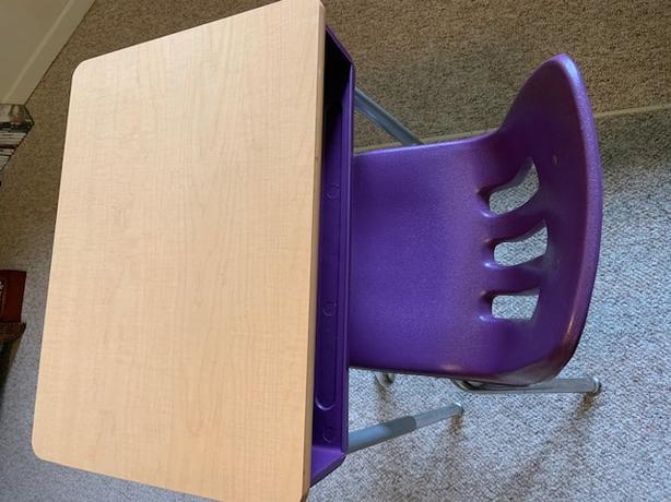 Student desk with matching chair - purple