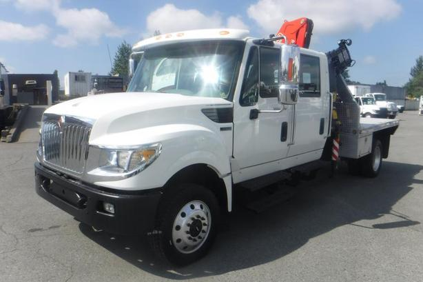 2014 International TerraStar Diesel 8.5 Foot Flat Deck with a Crane and Fifth Wh