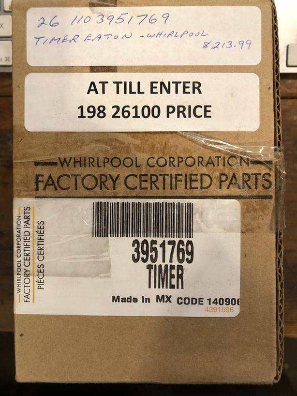 New Reconditioned by Whirlpool Washer Timer - 3951769 Timer