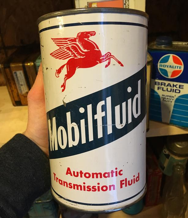 VINTAGE MOBILFLUID AUTOMATIC TRANSMISSION IMPERIAL QUART CAN