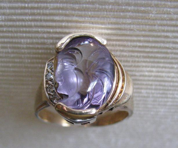 10K Yellow Gold Amethyst Ring Diamond Accents with Unique Carved Face Size 7