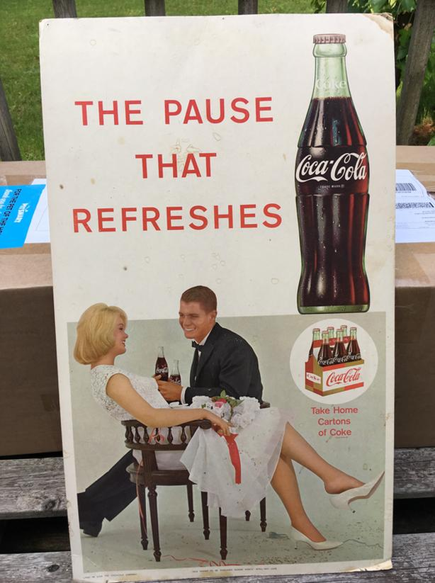 VINTAGE 1950's COCA-COLA (27 X 16 INCH) CARDBOARD SODA POP SIGN
