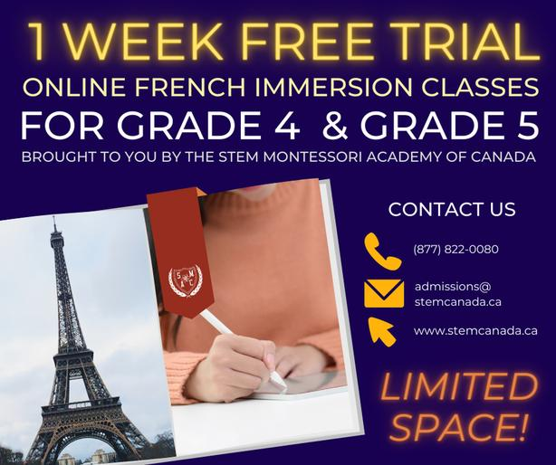 One Week Trial of Online French Immersion classes for Grade 4 & Grade 5