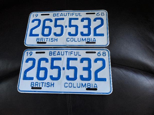 Matching Set of 1968 License Plates