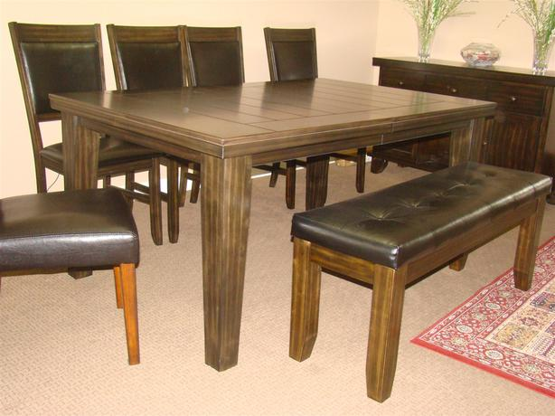 EUC 9 Piece Dining Set With Table, 6 Chair, Bench & Hutch