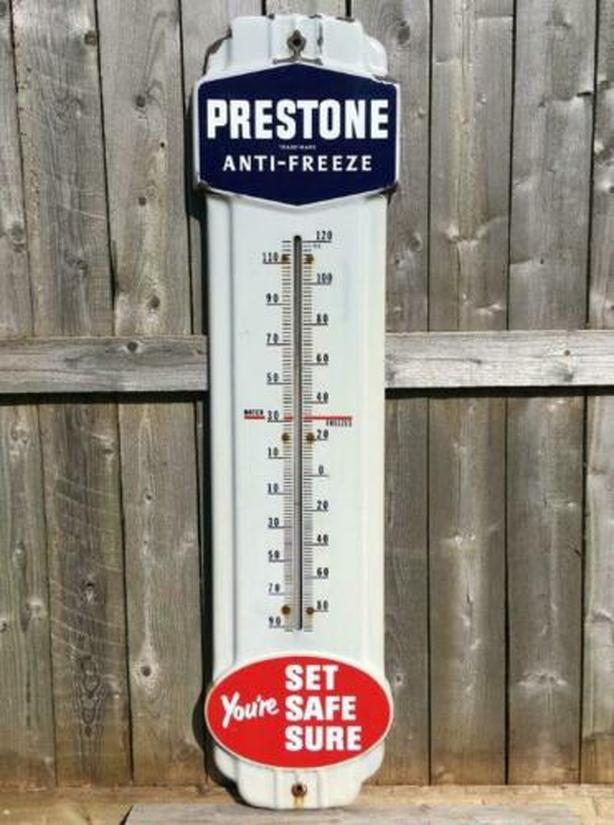 VINTAGE 1940s EVEREADY PRESTONE ANTI-FREEZE SSP THERMOMETER SIGN