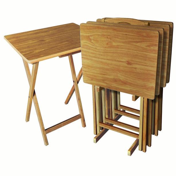 Portable Folding Table Wood TV Tray Set, Natural