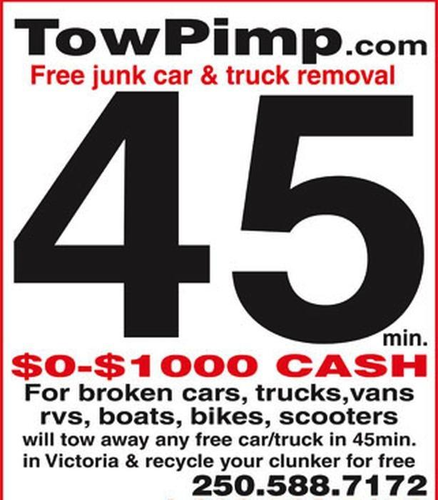 Free Junk Car Removal Victoria BC 250-588-7172, $0-$1000 Cash For Cars