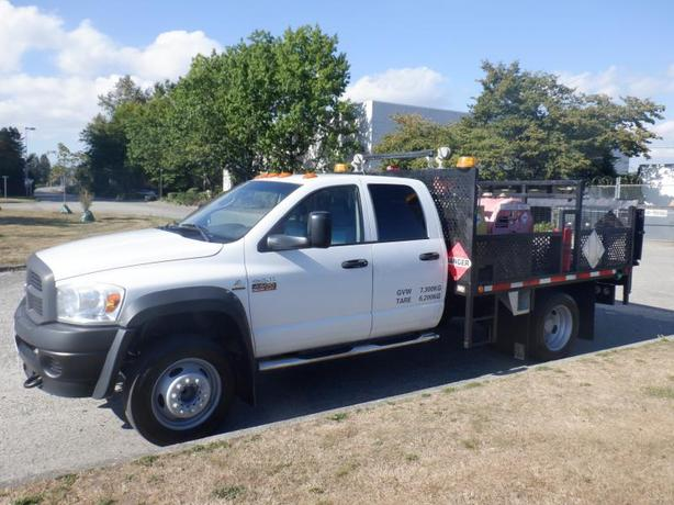 2008 Dodge Ram 4500 Quad Cab Diesel Dually Flat Deck 2WD with Diesel and Gas Pum