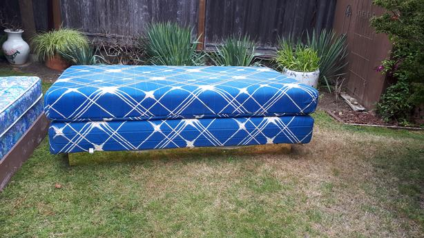 "Twin mattress with boxspring, frame and sheets 75"" x 38"""