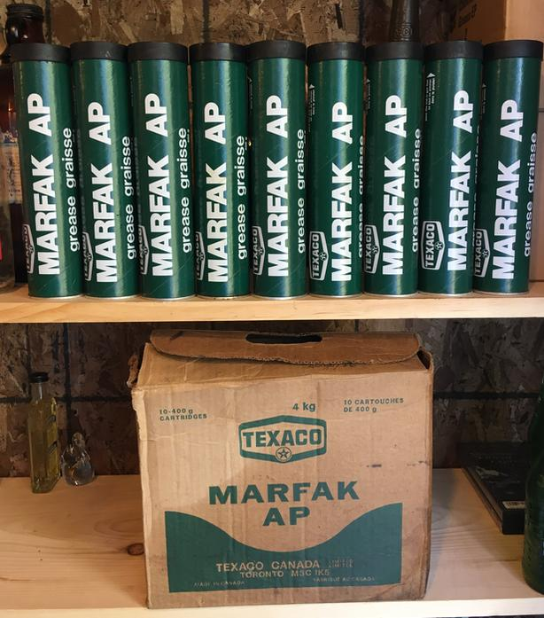 VINTAGE 1970's TEXACO MARFAK AP GREASE (400 g) FIBRE CANS & BOX