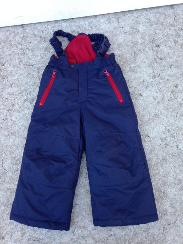 Snow Pants Child Size 2 West Bound Marine Blue With Red Micro Fleece Lining