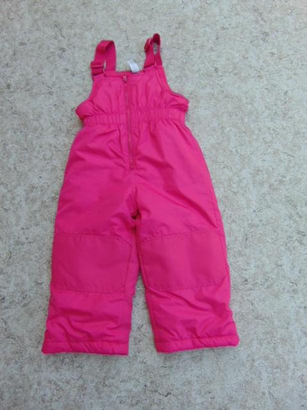 Snow Pants Child Size 3 Pink Fleece Lined Inside With Straps and Bib