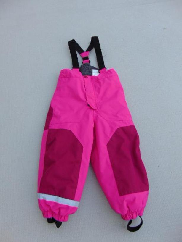 Snow Pants Child Size 3-4 H M Sport Pink Black With Straps Excellent