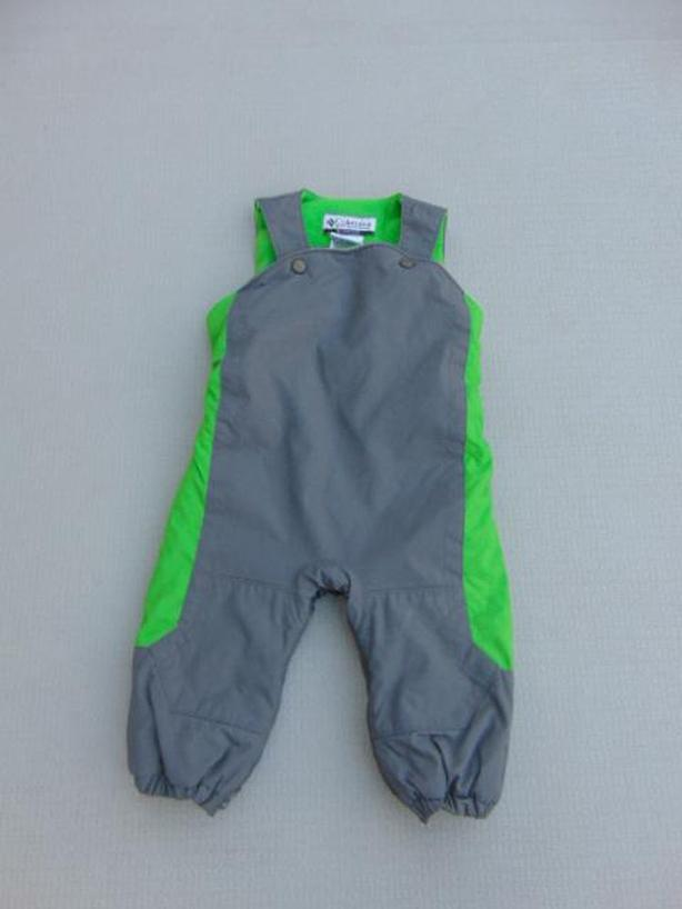 Snow Pants Child Size 18 Month Columbia Grey With Green Micro Fleece Inside