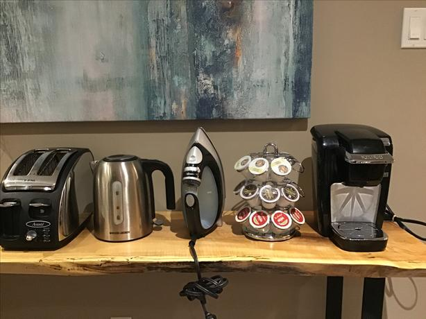 Keurig + pod stand, kettle, toaster
