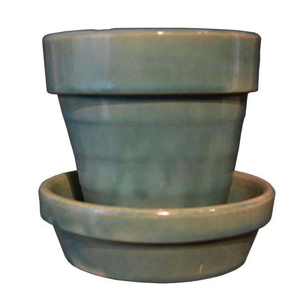 Medalta Potteries green glaze planter
