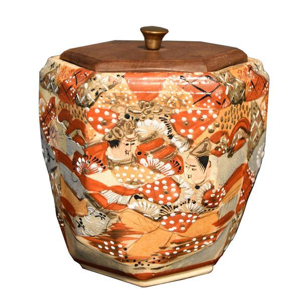 Antique Satsuma moriage biscuit barrel or tea caddy