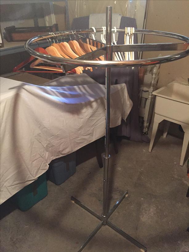 "Round Revolving Clothing Rack Chrome 36"" to 64"" Adjustable"