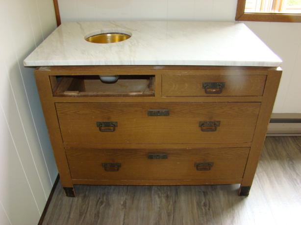 Antique Dresser Bottom with New Marble Top  Vanity