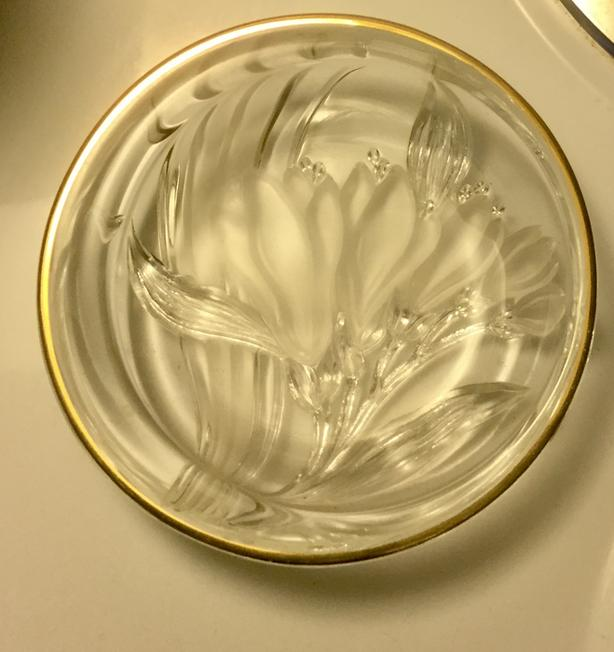Mikasa Studio Nova Frosted Crystal French Iris Round Candy Dish