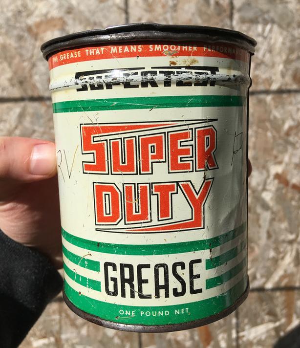 RARE 1940's VINTAGE SUPERTEST SUPER DUTY GREASE (1 LB.) CAN