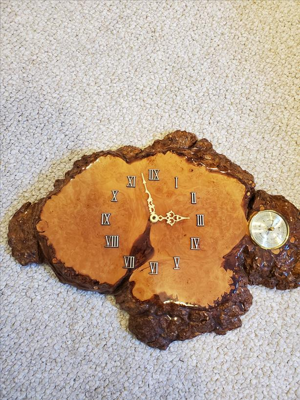 BIRDSEYE MAPLE BURL CLOCK WITH BAROMETER